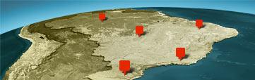 Ilustração da distribuição dos centros pelo Brasil